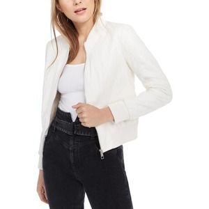 NWT GUESS Ivory Faux Leather Bomber Jacket